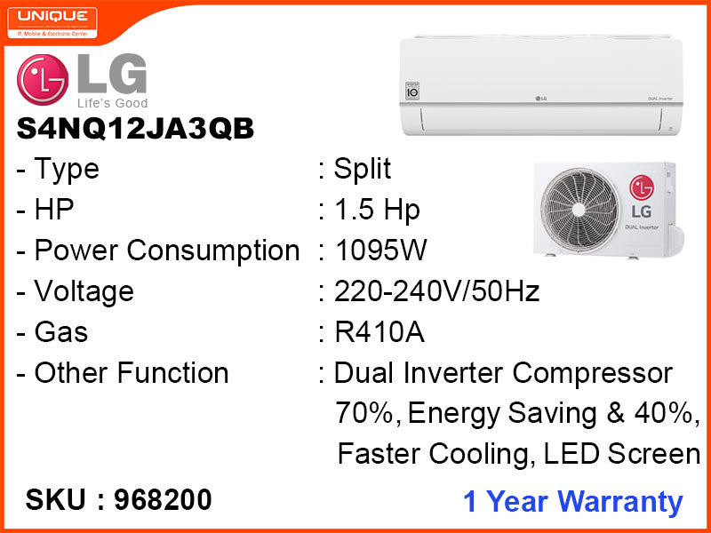 LG S4NQ12JA3QB Split 1.5HP, Inverter Air Conditioner