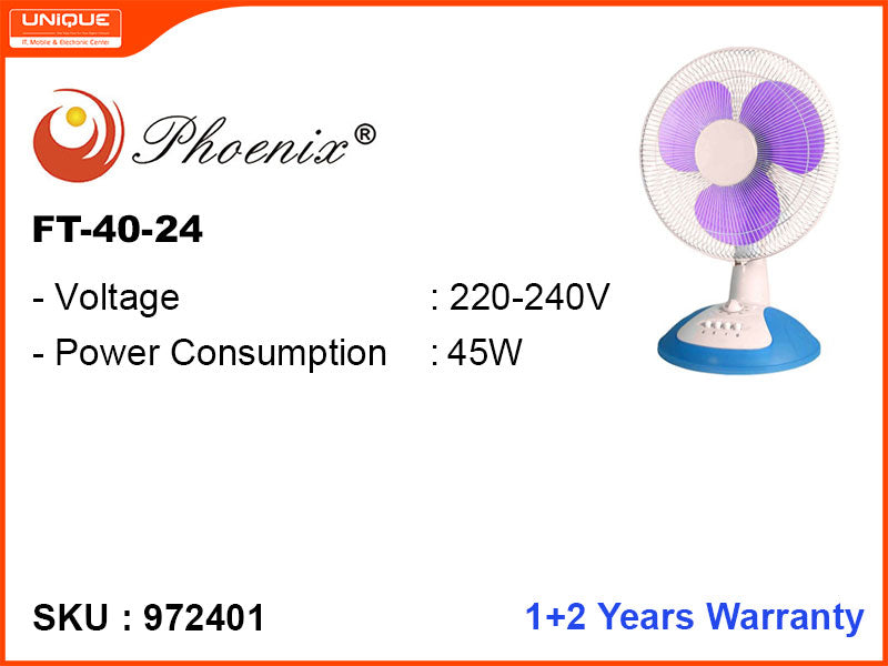 "Phoenix Table Fan (FT-40-24),16"", 45W"
