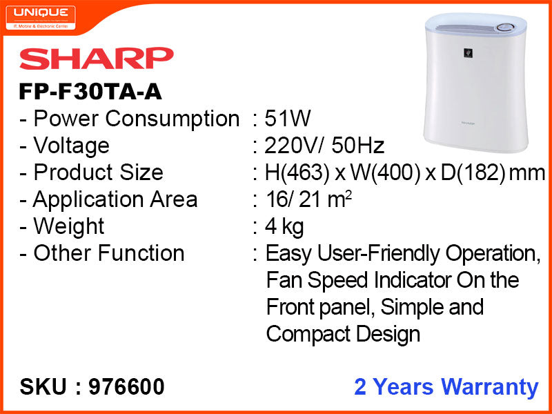 SHARP Air Purifier, FP-F30TA-A 51W