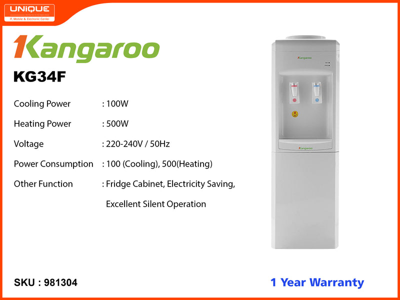 Kangaroo KG34F Normal, Hot, Cold Water Dispensor (Cooling Cobinet)