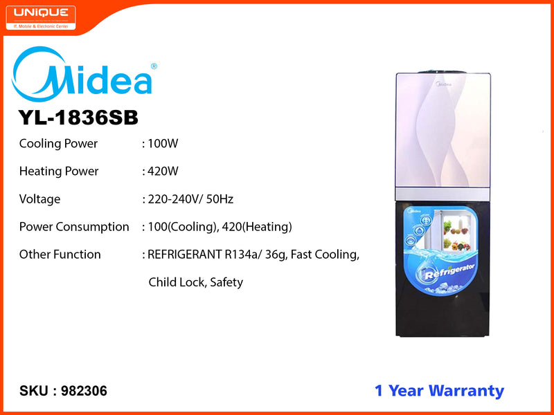Midea YL1836SB Normal , Hot, Cold Water Dispenser (With Refrigrater)