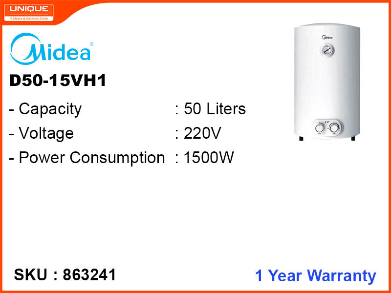 Midea D50-15VH1,50L,1500W Storage Water Heater