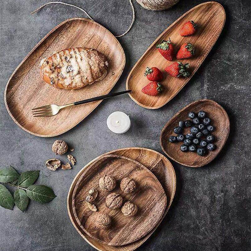 Lots d'assiettes en bois d'acacia récyclés, 100% naturelles, Made in France | The Luxe Wood® - The Luxe Wood
