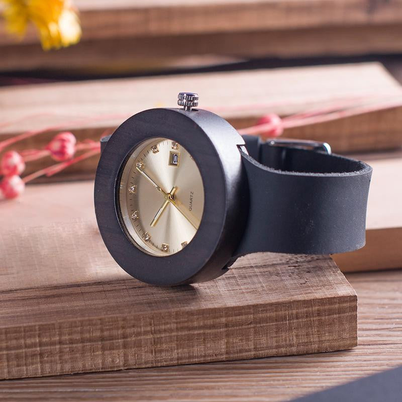 "Montre en bois pour femme ""ADHARA"", 100% naturelle, faite à la main, Made In France 