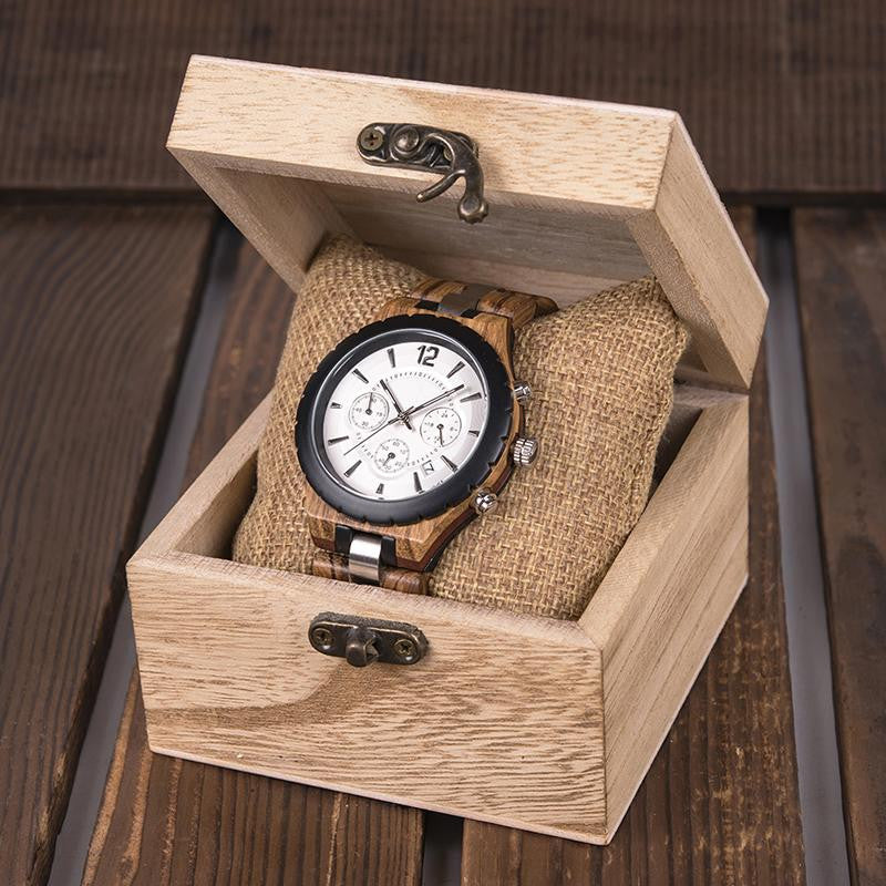 "Montre en bois pour homme ""DRACONIS"", 100% naturelle et faite à la main, Made In France 