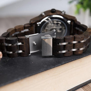 "Montre en bois pour homme ""EPSILON"", 100% naturelle et faite à la main, Made In France 