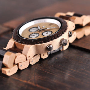 "Montre en bois pour homme ""ALTAÏR"", 100% naturelle et faite à la main, Made In France 