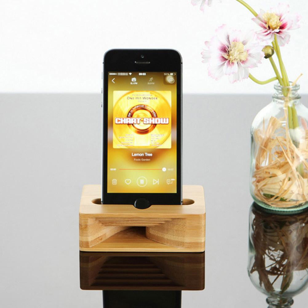 Support en bambou pour smartphones avec amplificateur de son naturel | The Luxe Wood® - The Luxe Wood