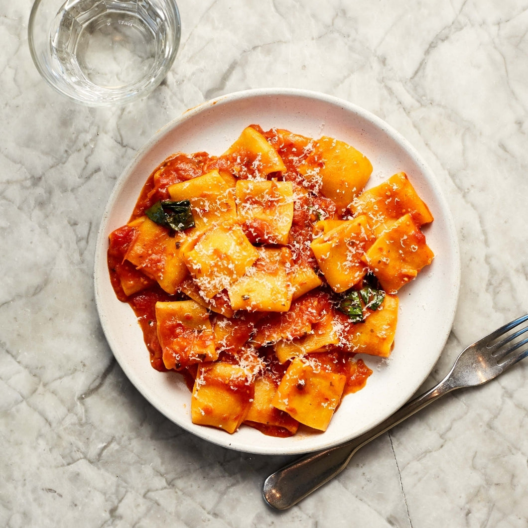 Arrabbiata (Slow cooked tomatoes, chilli) and paccheri (v) (Serves 2)