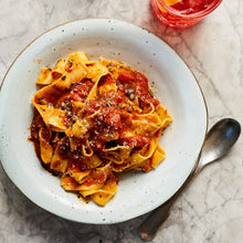 Load image into Gallery viewer, Puttanesca (Anchovies, chilli, garlic, oregano, olives, tomato) and pappardelle (Serves 2)