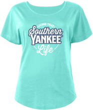 Load image into Gallery viewer, Ladies Scoop Neck Living that Southern Yankee Life Dolman Style T-shirt - The Southern Yankee