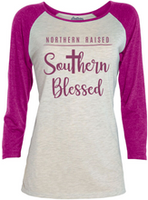Load image into Gallery viewer, Southern Blessed 3/4 Raglan Ladies T-Shirt - Southern Yankee