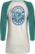Load image into Gallery viewer, Lady Liberty 3/4 Raglan Heather Ladies T-shirt - Southern Yankee