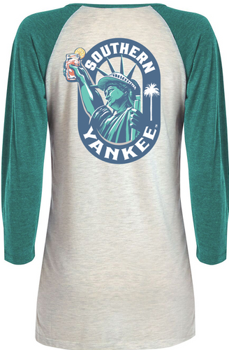 Lady Liberty 3/4 Raglan Heather Ladies T-shirt - The Southern Yankee