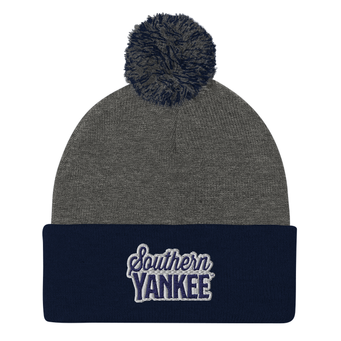 Southern Yankee Embroidered Pom-Pom Beanie