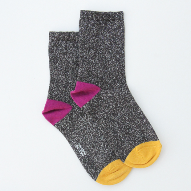 Caroline Gardner - Charcoal Metallic Socks