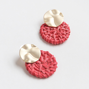 Caroline Gardner - Gold and Pink Solid Rattan Earrings