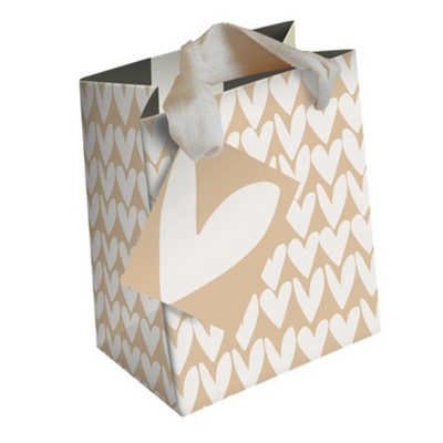 Caroline Gardner - Kraft Stripe Medium Hearts Gift Bag