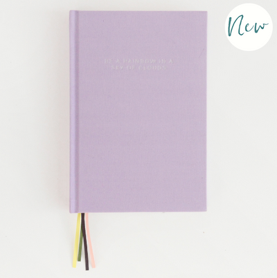 Caroline Gardner - 'Be a Rainbow in a sky of clouds' Lilac Multi-Ribbon Notebook