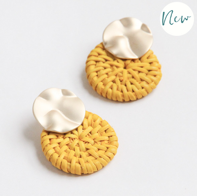 Caroline Gardner - Gold and Yellow Solid Rattan Earrings