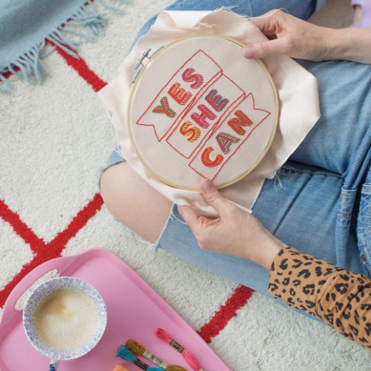 Cotton Clara - 'Yes She Can' Embroidery Hoop Kit