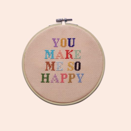 Cotton Clara - 'You make me happy' Cross Stitch Kit