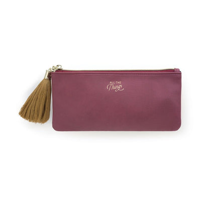 Designworks Ink - Tassel Pencil Pouch - Burgundy Vegan Leather - 'All The Things'