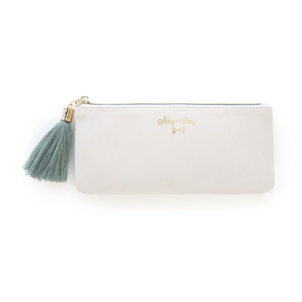 Designworks Ink - Tassel Pencil Pouch - Ivory Vegan Leather - Slay the Day