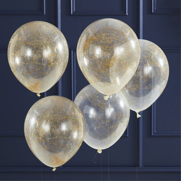 Ginger Ray - Gold Angel Hair Confetti Balloons