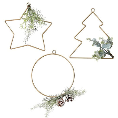 Ginger Ray - Hanging Christmas Hoop Decorations & Foilage