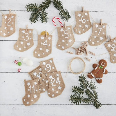 Ginger Ray - Hessian Stockings Fill Your Own Advent Calendar