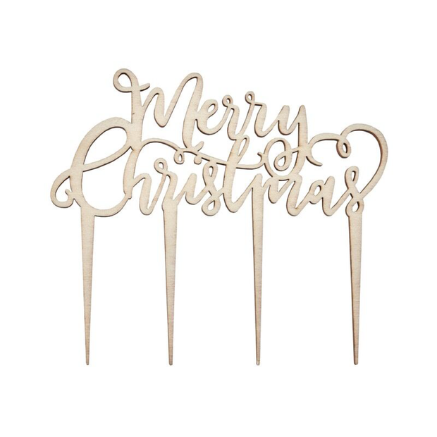Ginger Ray - Wooden Merry Christmas Cake Topper