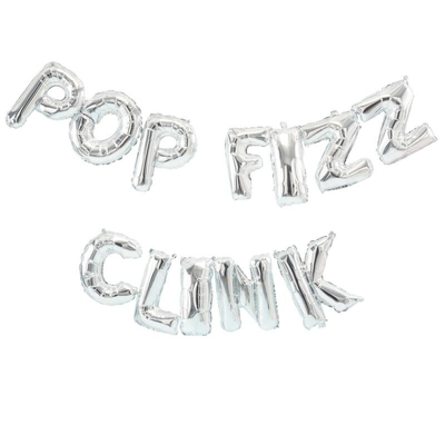 Ginger Ray - Silver 'Pop Fizz Clink' Balloons