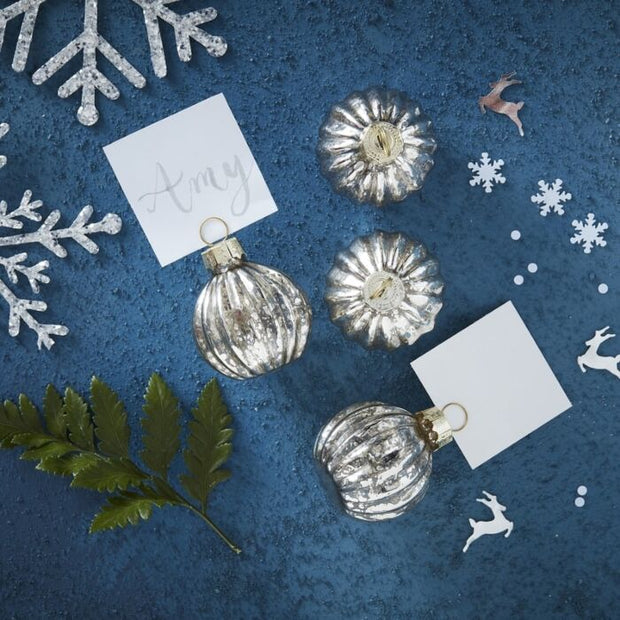 Ginger Ray -Silver Christmas Bauble Place Card Holders