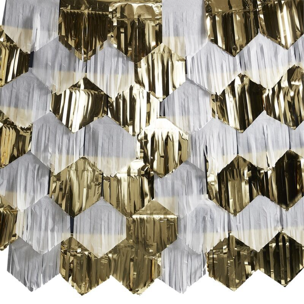 Ginger Ray - Gold & White Fringe Wall Decoration