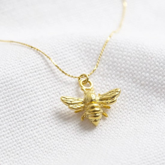 Lisa Angel - Delicate Gold Bumblebee Pendant Necklace