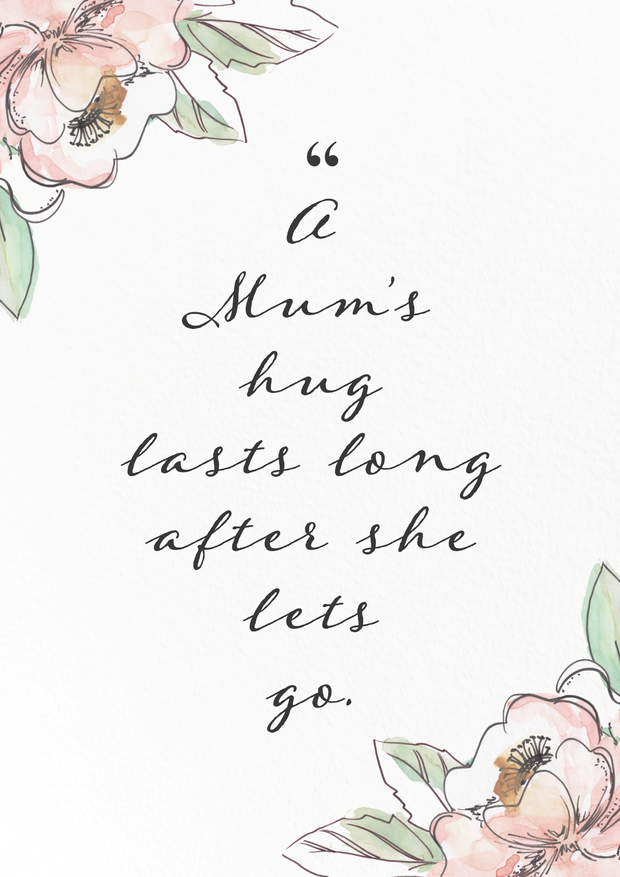 "Art Print - ""A Mum's Hug"" Quote Floral Print"