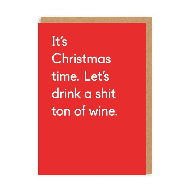 Ohh Deer - Shit Ton Of Wine Greeting Card