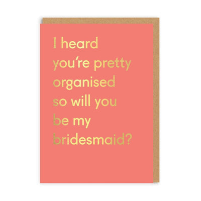 Ohh Deer - 'Bridesmaid Organised' Greetings Card