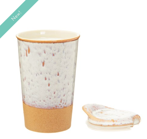 Sass & Belle - White Glaze Ceramic Travel Mug