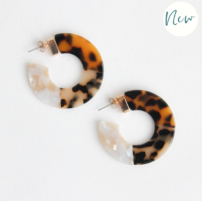 Caroline Gardner - Multi Tortoiseshell Hoop Earrings