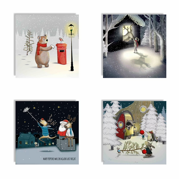 Toots Design - Christmas Card Multi Pack of 4