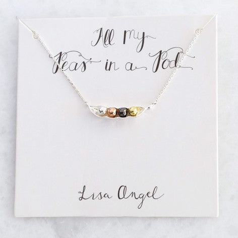 Lisa Angel - Silver Four Peas in a Pod Necklace