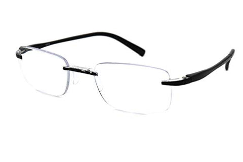 ColorViper Super Lightweight Reading Glasses Rimless reader (1A black clear, 3.50)