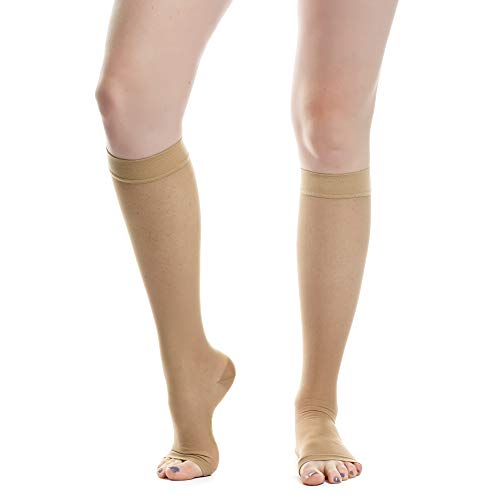 EvoNation Women's USA Made Open Toe Sheer Graduated Compression Socks 15-20 mmHg Moderate Pressure Medical Quality Ladies Knee High Toeless Support Stockings Circulation Hose (Large, Tan Nude Beige)