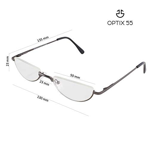 Reading Glasses Men - Half Frame Readers - Pack of 2 Mens Reading Glasses - Fashion Men's Readers with Pouch - Comfortable Gunmetal Frame with Rubber Tip Temples - By Optix 55 (Gunmetal Grey, 100.00)