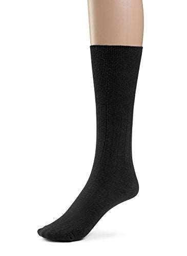 Silky Toes 3 or 6 Pk Men's Diabetic Non-Binding Cotton Dress Socks, Multi Colors Also Available in Plus Sizes... (9-11, Black - 3 Pairs)