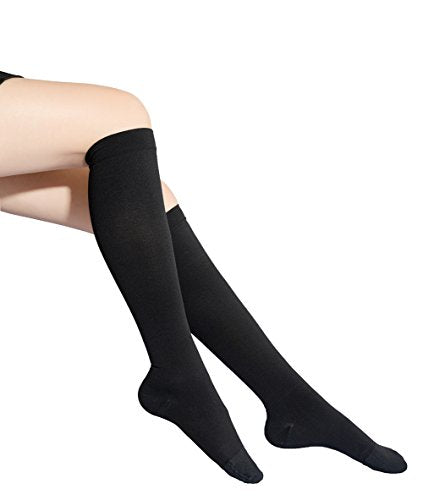 Compression Socks, 20-30mmHg for Men Women, Opaque, Firm Support Maternity Pregnancy Knee High Graduated Compression Stockings, Best Medical, Nursing, Swelling, Varicose Veins, Edema, 1 Pair Black XL