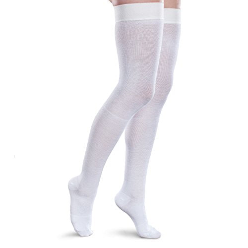 Therafirm Core-Spun 15-20mmHg Mild Graduated Compression Support Thigh High Socks (White, XL Long)