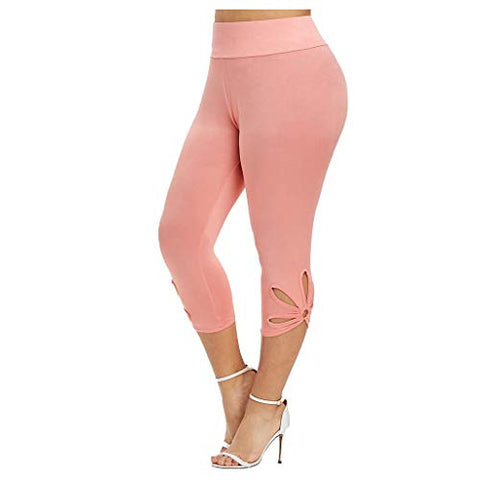 heavKin-Clothes Women 7'' Sweatpants Plus Size Hollow Elastic Waist Quick-Drying Breathable Casual Pants Leggings